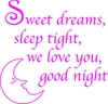 "Wall Quote -""Sweet dreams sleep tight, we love you, good night"""