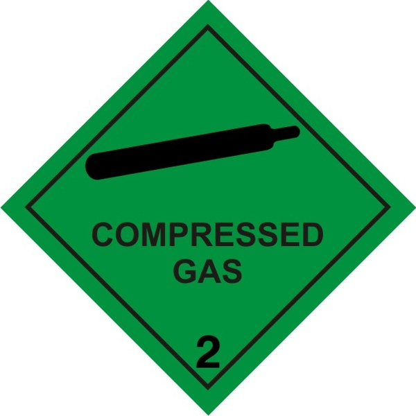 Magnetic Sign Compressed Gas Hazchem 2 Brainchild Graphics