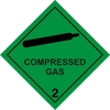 Magnetic sign. Compressed Gas. Hazchem 2