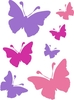 72 Butterfly Stickers in 3 colours & 3 sizes