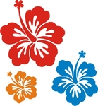 22 Hibiscus Stickers in 3 sizes
